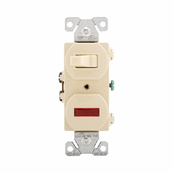 Picture of Eaton Wiring Devices 277V-BOX Combination Toggle Switch, 15 A, 120/277 V, Screw Terminal, Steel Housing Material