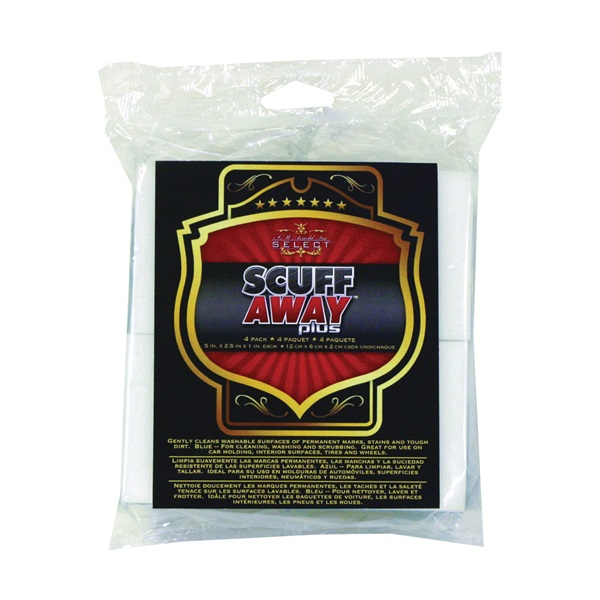 Picture of SM ARNOLD SCUFF AWAY 85-423 Sponge, 5 in L, 2-3/8 in W, 7/8 in Thick, Melamine, Blue/White