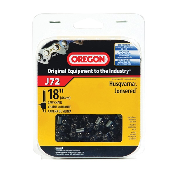 Picture of Oregon J72 Chainsaw Chain, 18 in L Bar, 0.058 Gauge, 0.325 in TPI/Pitch, 72 -Link