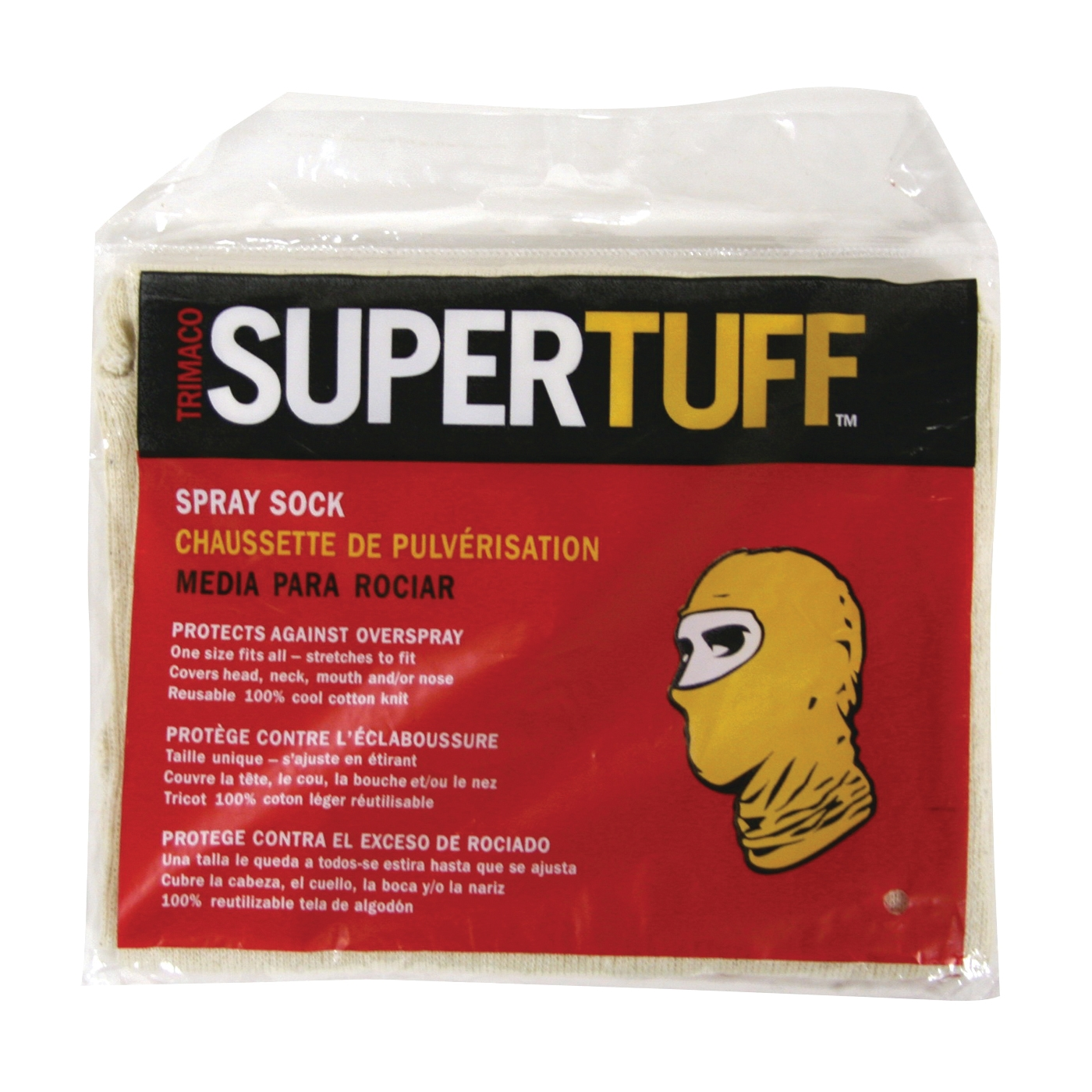 Picture of Trimaco SUPERTUFF 09301-B Spray Paint Sock with Hood, Elastic Closure, Cotton, Natural