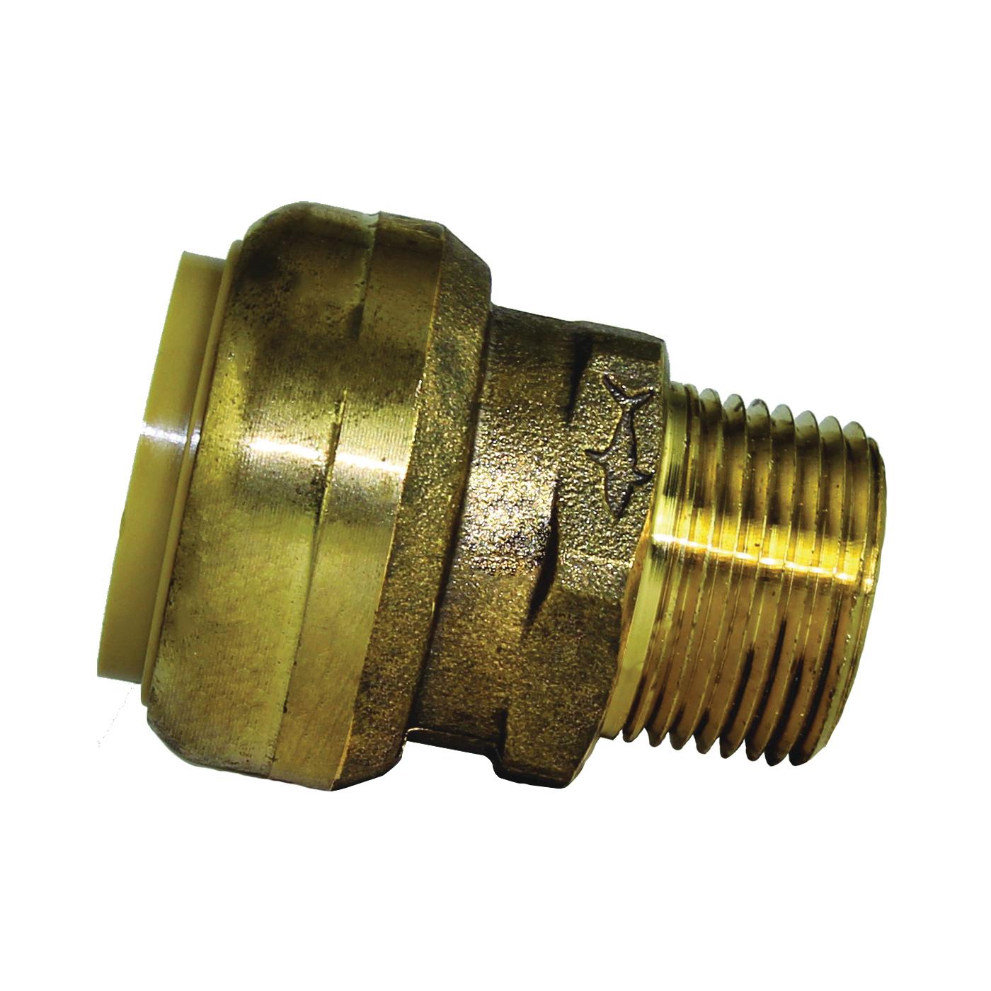 Picture of SharkBite U142LFA Pipe Connector, 1 x 3/4 in, MNPT x MNPT, Brass, 200 psi Pressure
