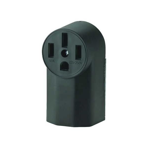 Picture of Eaton Cooper Wiring 1212 Power Receptacle, 3-Pole, 125/250 V, 50 A, NEMA 14-50R, Black
