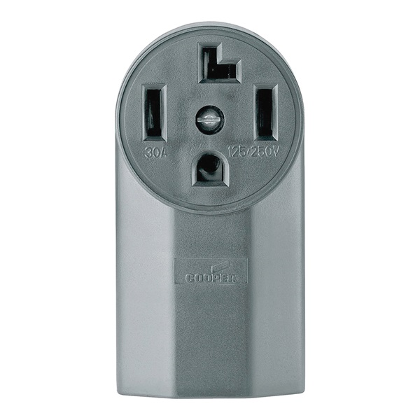 Picture of Eaton Cooper Wiring 1225 Power Receptacle, 3-Pole, 125/250 V, 30 A, NEMA 14-30R, Black