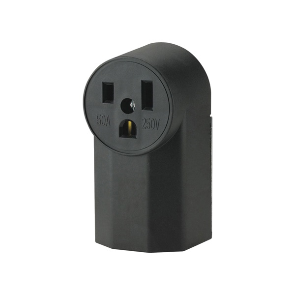 Picture of Eaton Cooper Wiring 1252 Power Receptacle, 2-Pole, 250 V, 50 A, NEMA 6-50R, Black