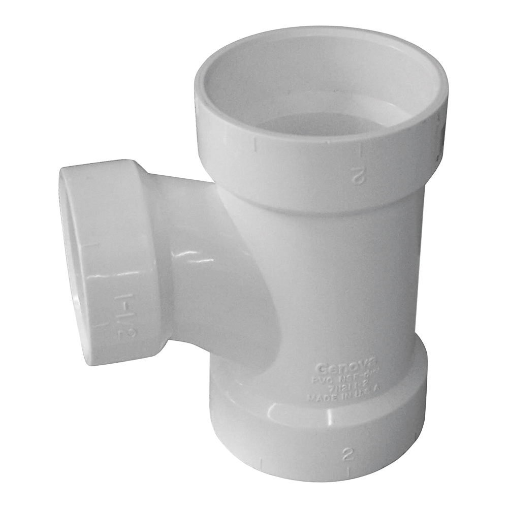 Picture of GENOVA 700 71132 Reducing Sanitary Tee, 3 x 2 in, Hub, PVC, SCH 40 Schedule