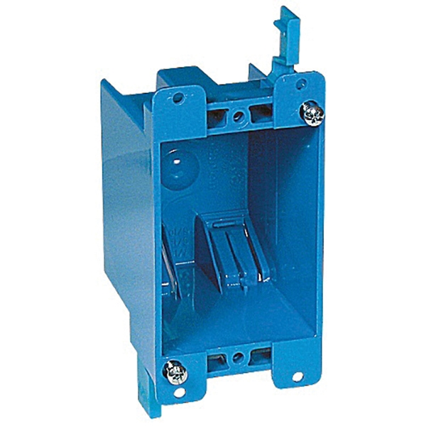 Picture of Carlon B114R-UPC Outlet Box, 1-Gang, PVC, Blue, Clamp Mounting