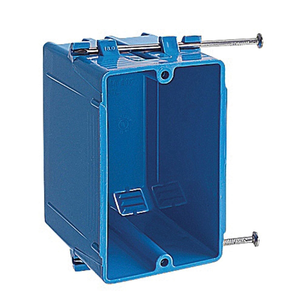Picture of Carlon B118A Outlet Box, 1-Gang, 4-Knockout, PVC, Blue, Captive Nail Mounting