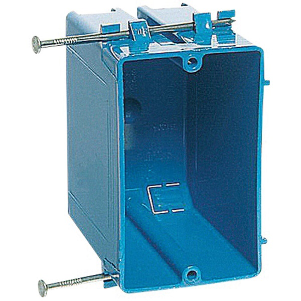 Picture of Carlon B120A-UPC Outlet Box, 1-Gang, 4-Knockout, PVC, Blue, Captive Nail Mounting