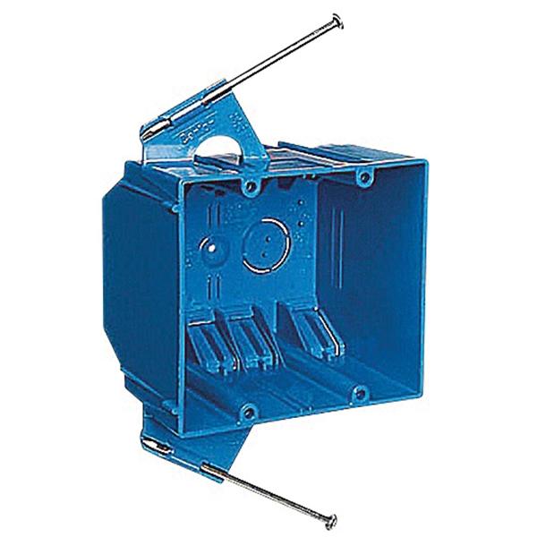 Picture of Carlon B232A-UPC Outlet Box, 2-Gang, PVC, Blue, Captive Nail Mounting