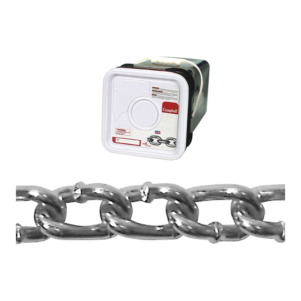Picture of Campbell 0322026 Twist Link Coil Chain, #2/0 Trade, 175 ft L, 520 lb Working Load, Steel, Zinc