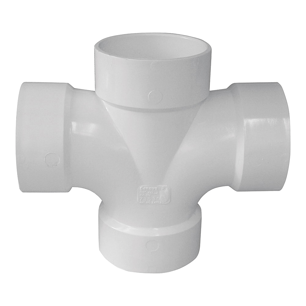 Picture of GENOVA 700 73542 Reducing Double Sanitary Tee, 4 x 2 x 2 in, Hub, PVC, SCH 40 Schedule