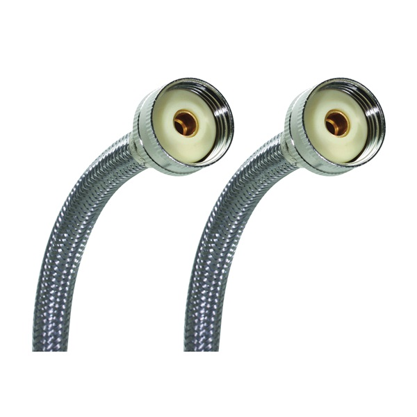 Picture of FLUIDMASTER 9WM60P2 Washing Machine Hose, 60 in L, Female x Female Thread, Stainless Steel