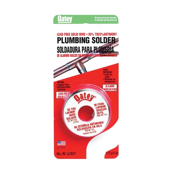 Picture of Oatey 53027 Plumbing Wire Solder, 1/4 lb Package, Carded, Solid, Silver, 450 to 464 deg F Melting Point