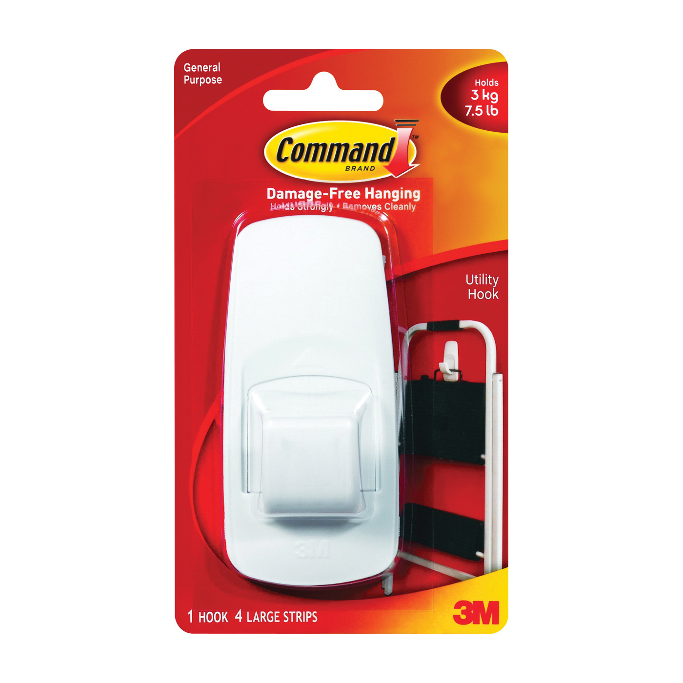Picture of Command 17004 Utility Hook, 11/16 in Opening, 7.5 lb, 1-Hook, Plastic, White, 5, Pack
