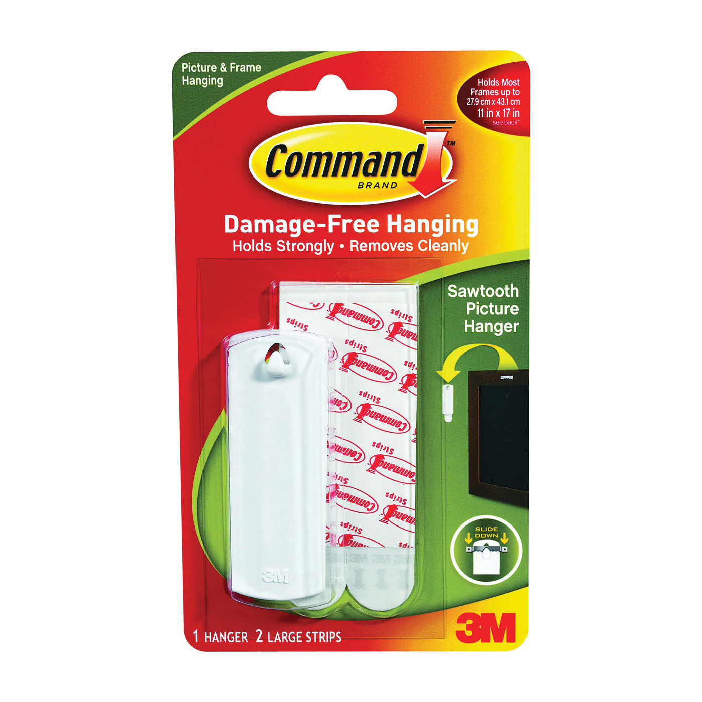 Picture of Command 17040 Picture Hanger, 5 lb, Plastic, White, Adhesive Strip Mounting, 1, Pack