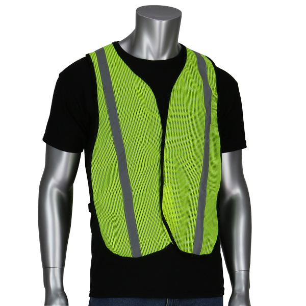 Picture of MSA SWX00354-01 Safety Vest, One-Size, Polyester, Lime Yellow, Hook-and-Loop Closure