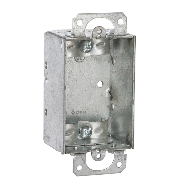 Picture of RACO 410 Switch Box, 1-Gang, 1-Outlet, 4-Knockout, Steel, Gray, Galvanized