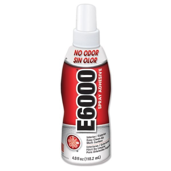 Picture of ECLECTIC E6000 563011 Spray Adhesive, Odorless, White, 4 oz Package, Bottle