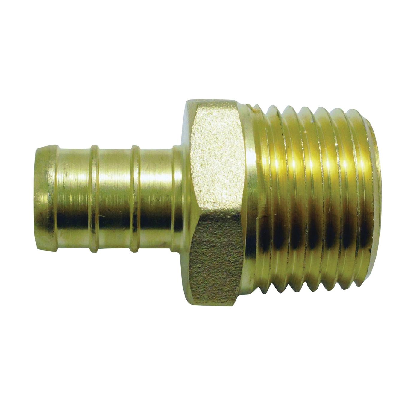 Picture of Apollo APXMA1212 Pipe Adapter, 1/2 in, PEX x MPT, Brass, 200 psi Pressure