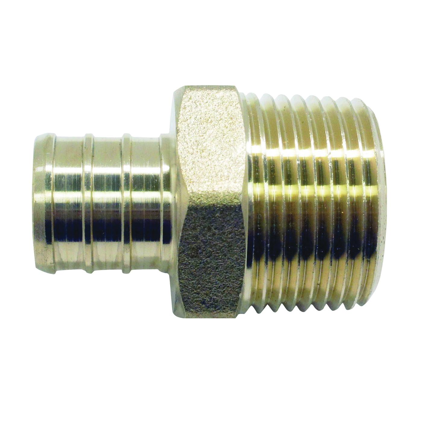 Picture of Apollo APXMA11 Pipe Adapter, 1 in, PEX x MPT, Brass, 200 psi Pressure