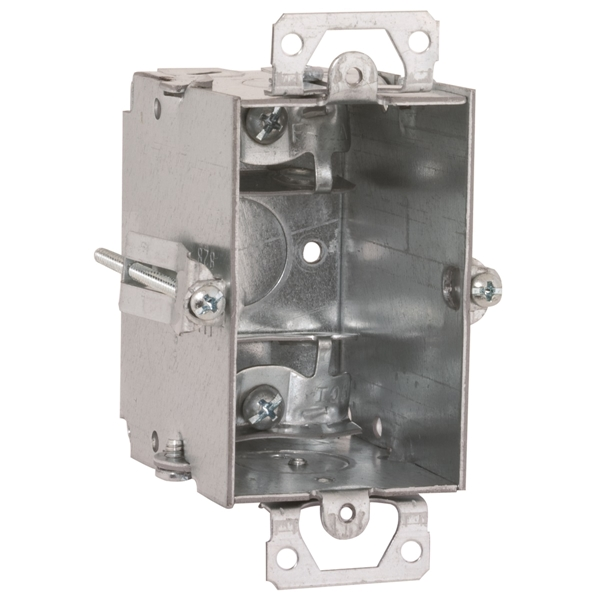 Picture of RACO 523 Switch Box, 1-Gang, 1-Outlet, 1-Knockout, 1/2 in Knockout, Steel, Gray, Galvanized