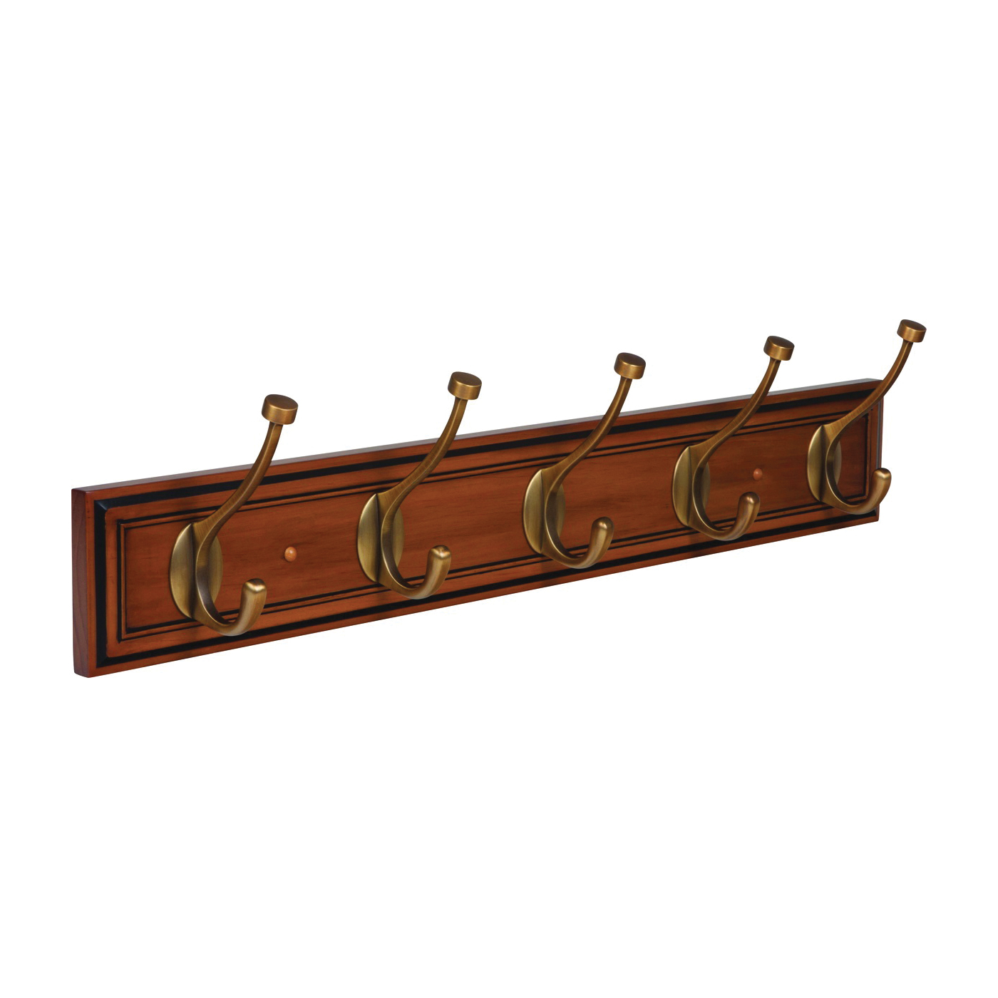 Picture of Amerock 2000335 Hook Rack, 5-Hook, Pine/Zinc, Gilded Bronze/Honey Pine