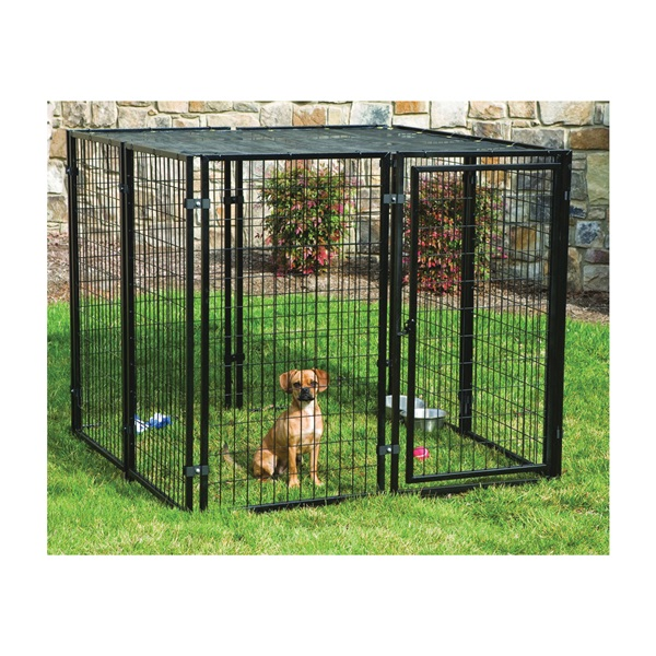 Picture of Stephens Pipe & Steel RSHBK11-11799 Dog Kennel with Sunblock Top, 5 ft OAL, 5 ft OAW, 4 ft OAH, Powder-Coated