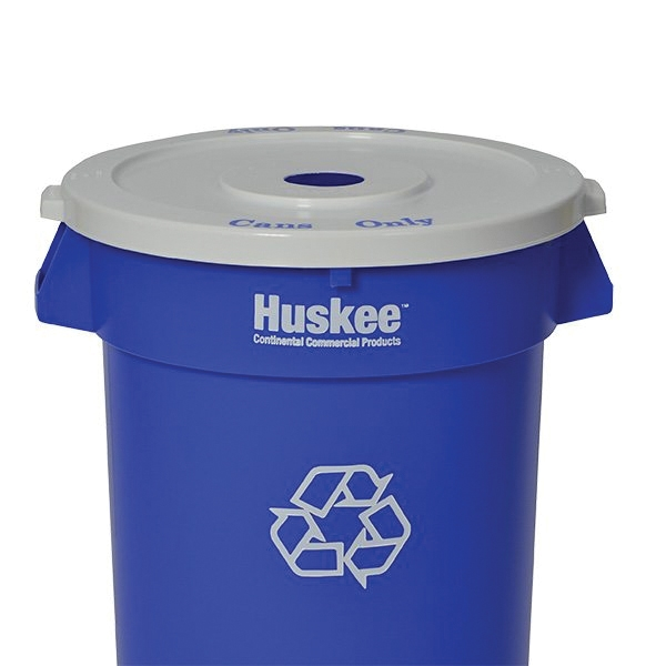 Picture of CONTINENTAL COMMERCIAL Huskee 3200-1 Recycling Receptacle, 32 gal Capacity, Plastic, Blue
