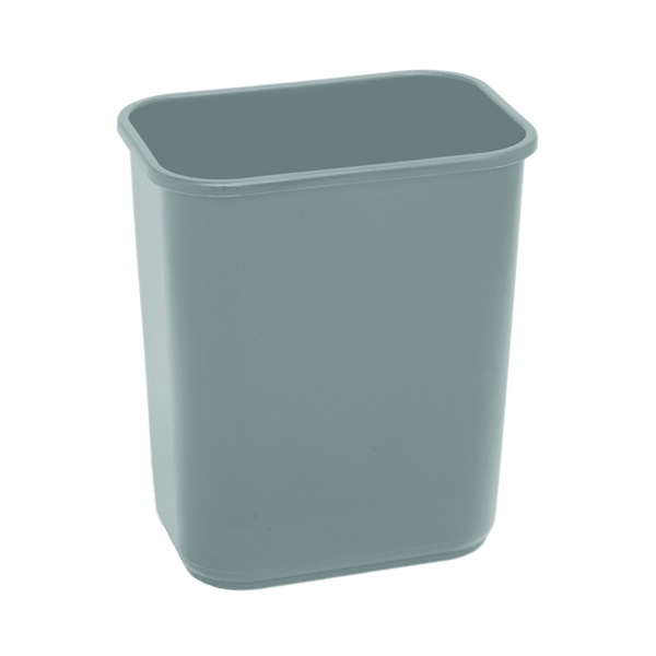 Picture of CONTINENTAL COMMERCIAL 2818GY Waste Basket, 28.125 qt Capacity, Rectangular, Plastic, Gray, 10-1/2 in W, 15 in H