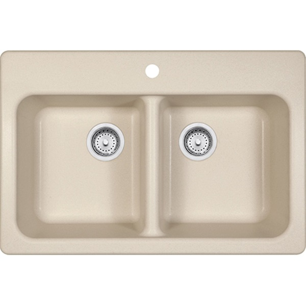Picture of FRANKE Quantum Series FPC3322-1 Kitchen Sink, 1-Deck Hole, 33 in OAW, 22 in OAH, 8 in OAD, Granite, Champagne