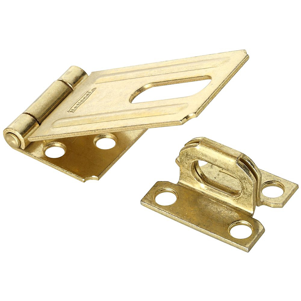 Picture of National Hardware V30 Series N102-293 Safety Hasp, 3-1/4 in L, 1-1/2 in W, Steel, Brass, 0.44 in Dia Shackle