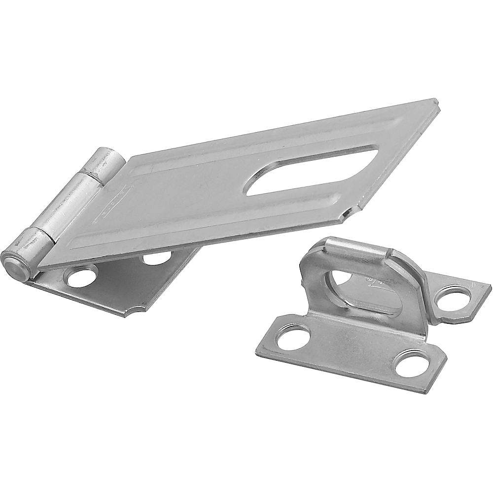 Picture of National Hardware V30 Series N102-384 Safety Hasp, 4-1/2 in L, 1-1/2 in W, Steel, Zinc, 0.44 in Dia Shackle