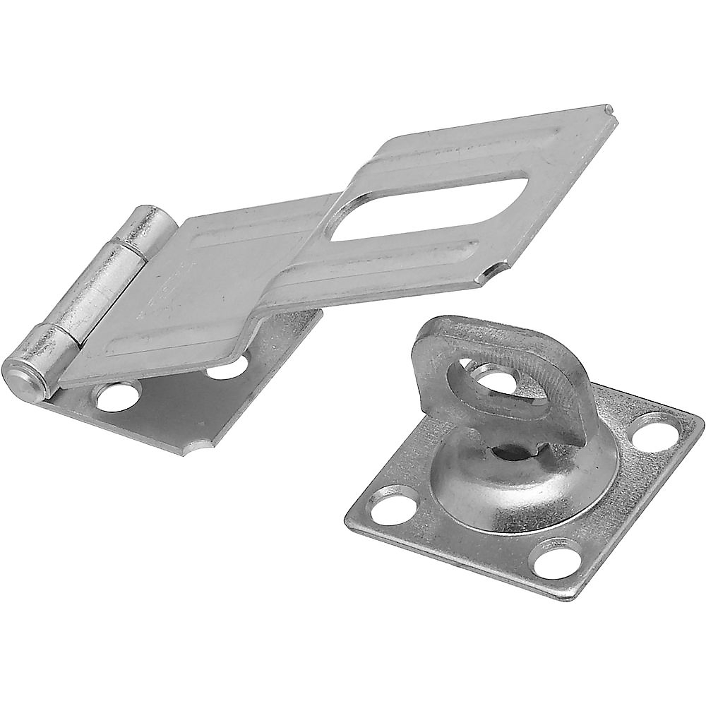 Picture of National Hardware V32 Series N102-921 Safety Hasp, 4-1/2 in L, 1-1/2 in W, Steel, Zinc, 0.41 in Dia Shackle