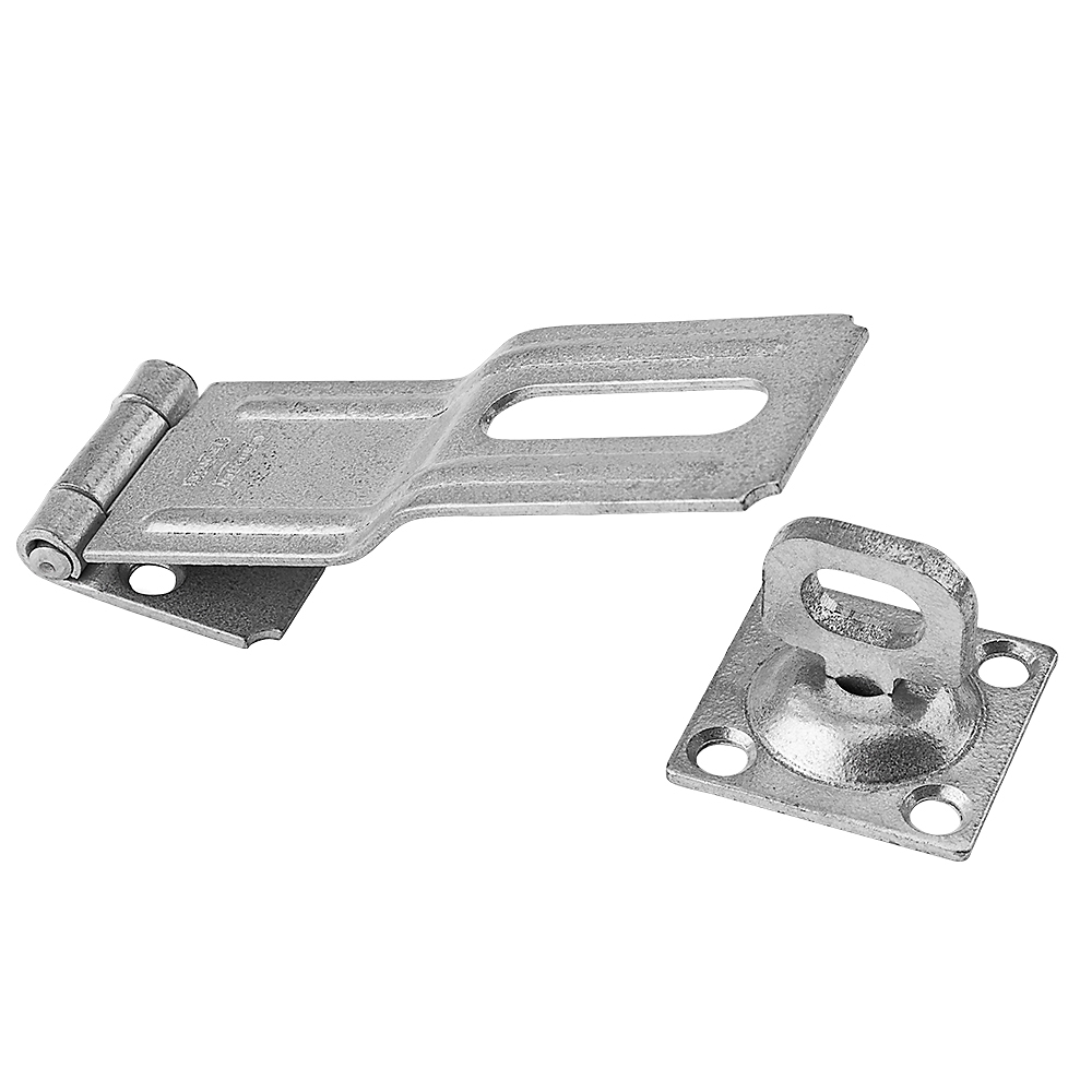 Picture of National Hardware V32 Series N103-069 Safety Hasp, 4-1/2 in L, 1-1/2 in W, Galvanized Steel, 0.41 in Dia Shackle