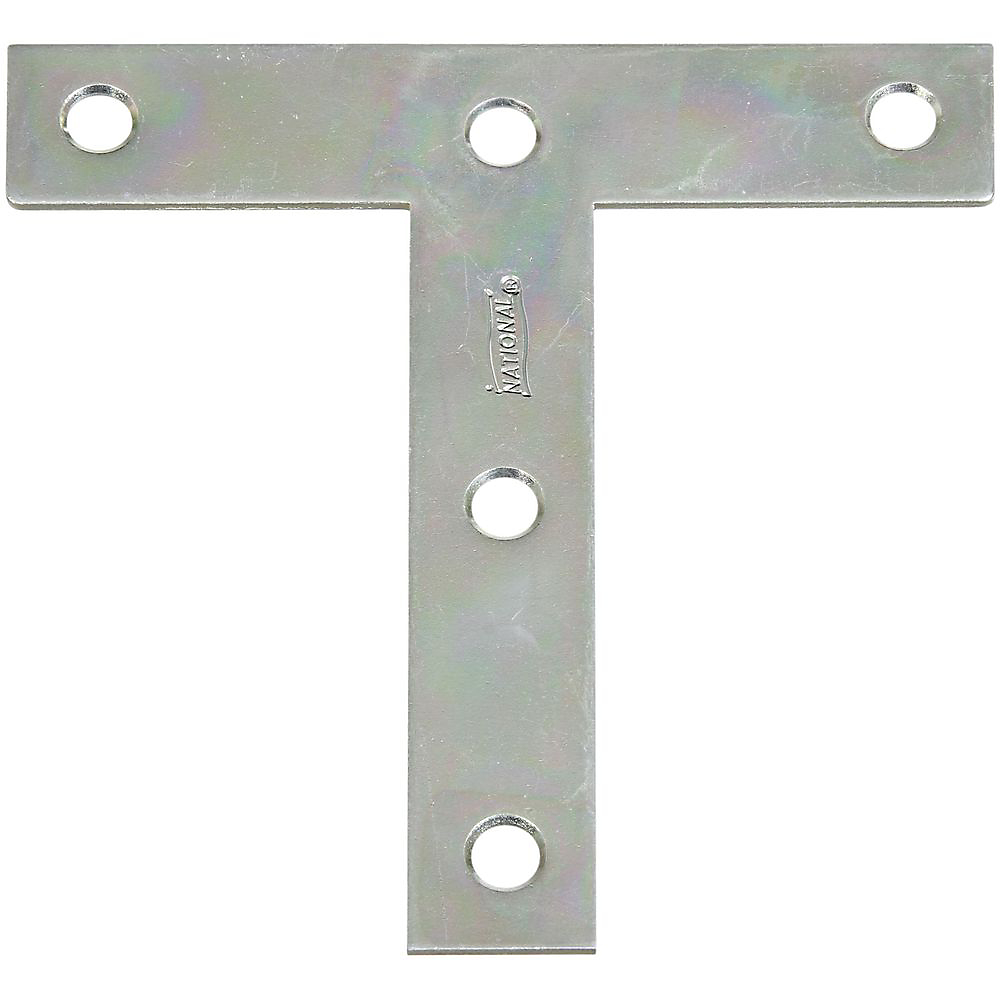 Picture of National Hardware V116 Series N113-753 T-Plate, 4 in L, 0.07 in Thick, Steel, Zinc