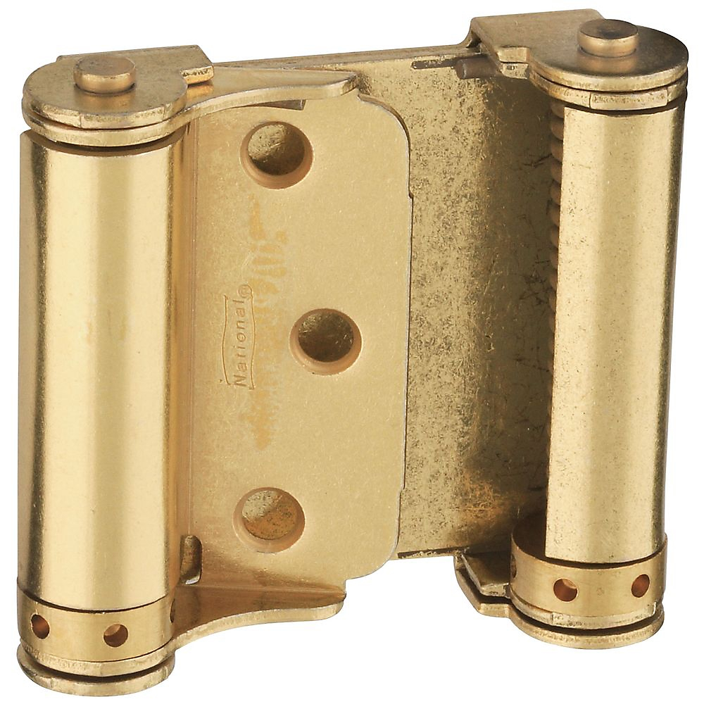 Picture of National Hardware N115-303 Spring Hinge, 0.056 in Thick Frame Leaf, Cold Rolled Steel, Brass, Removable Pin