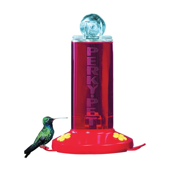 Picture of Perky-Pet 217 Hummingbird Feeder, Window-Mount, 8 oz, 2-Port/Perch, Acrylic/Plastic, Clear/Red, 8.4 in H
