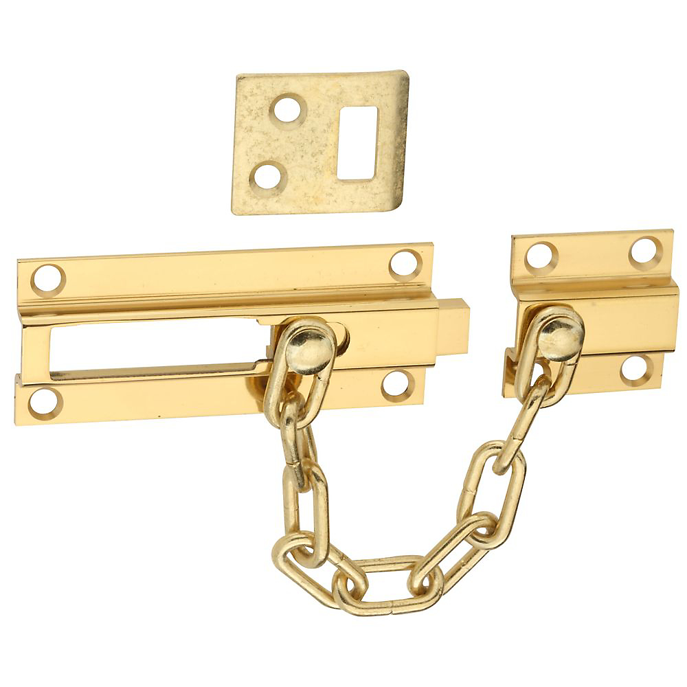 Picture of National Hardware V1927 Series N198-036 Deadbolt and Chain Guard, Brass/Steel, Polished Brass
