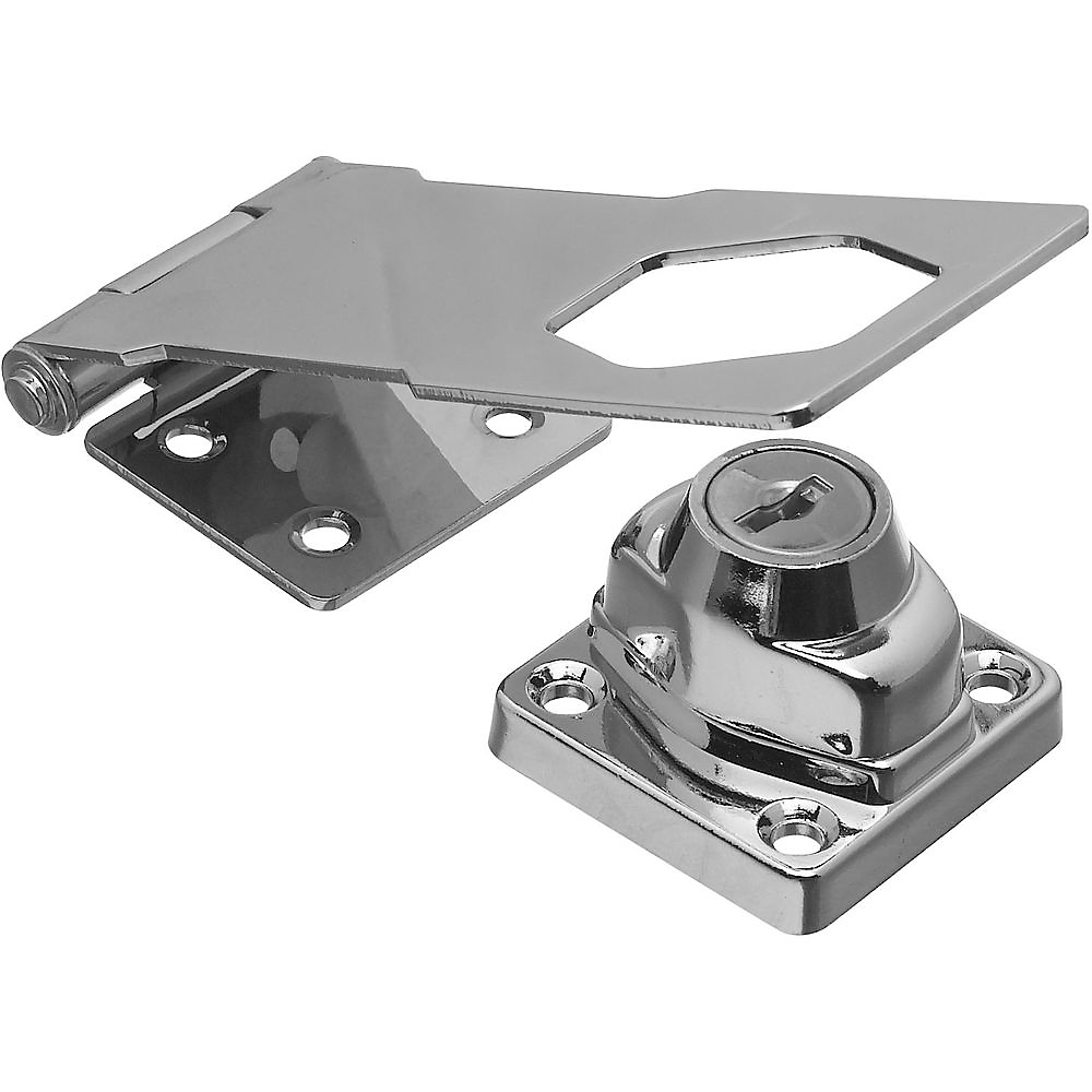 Picture of National Hardware VKA827 Series N206-953 Hasp Lock, 4-1/2 in L, Brass/Steel, Chrome