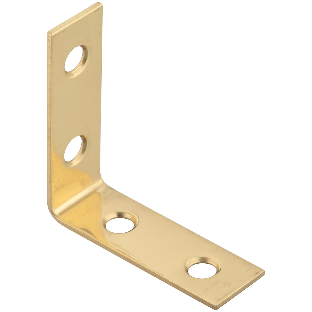Picture of National Hardware V1875 Series N213-397 Corner Brace, 1-1/2 in L, Solid Brass, Solid Brass, 4, Pack
