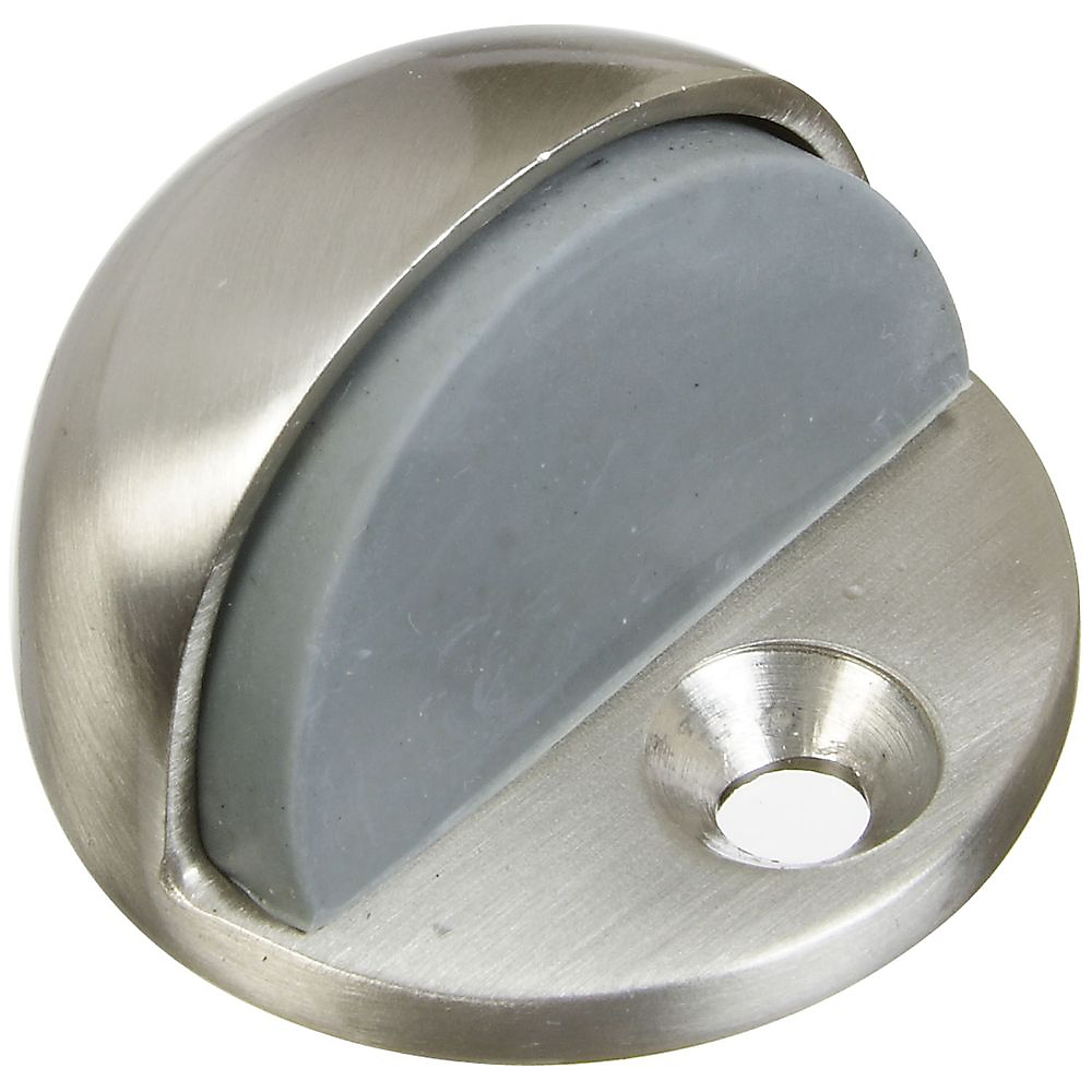 Picture of National Hardware MPB1936 Series N325-621 Door Stop, 1-3/4 in Dia Base, Rubber/Solid Brass, Satin Nickel