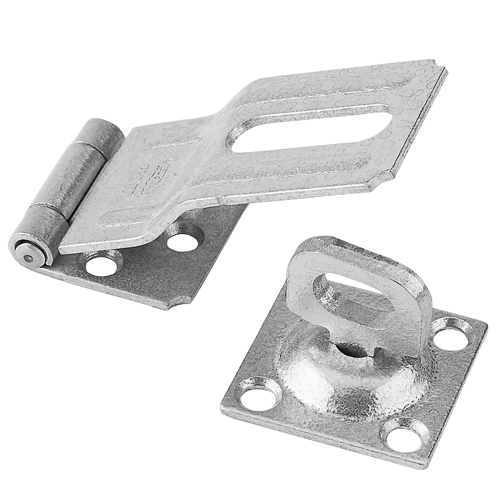 Picture of National Hardware V32 Series N103-044 Safety Hasp, 3-1/4 in L, 1-1/2 in W, Galvanized Steel, 0.41 in Dia Shackle