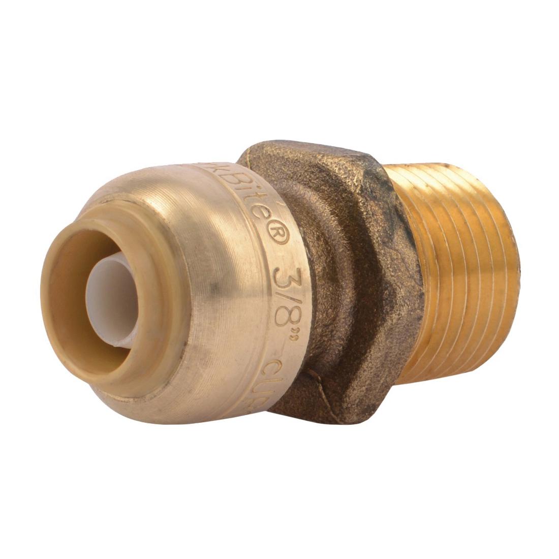 Picture of SharkBite U118LFA Pipe Connector, 3/8 x 1/2 in, MNPT x MNPT, Brass, 200 psi Pressure