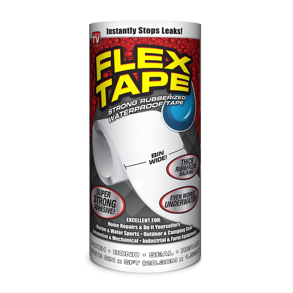 Picture of FLEX TAPE TFSWHTR0805 Waterproof Tape, 5 ft L, 8 in W, Rubber Backing