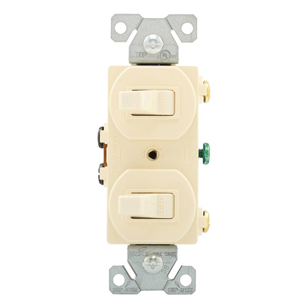 Picture of Eaton Wiring Devices 271LA Combination Toggle Switch, 15 A, 120/277 V, Screw Terminal, Steel Housing Material