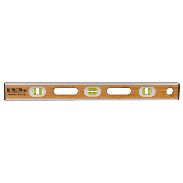 Picture of Johnson Eco-Tech 1610-2400 Bamboo Level, 24 in L, 6 -Vial, Non-magnetic, Wood, Brown