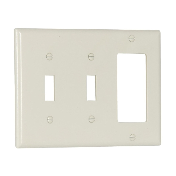 Picture of Eaton Wiring Devices 2173LA Combination Wallplate, 4-1/2 in L, 2-3/4 in W, Standard, 3-Gang, Thermoset