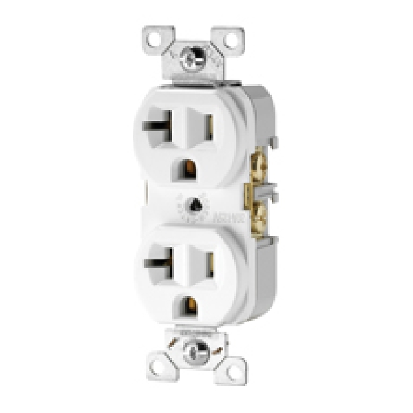 Picture of Eaton Wiring Devices BR Series BR20LA Duplex Receptacle Wallplate, 2-Pole, 20 A, 125 V, Back, Side Wiring