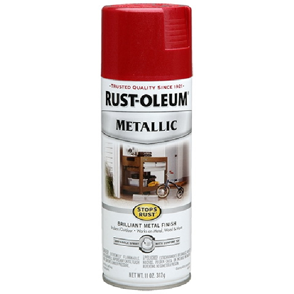 Picture of RUST-OLEUM 7256830 Spray Paint, Metallic, Apple Red, 11 oz, Aerosol Can