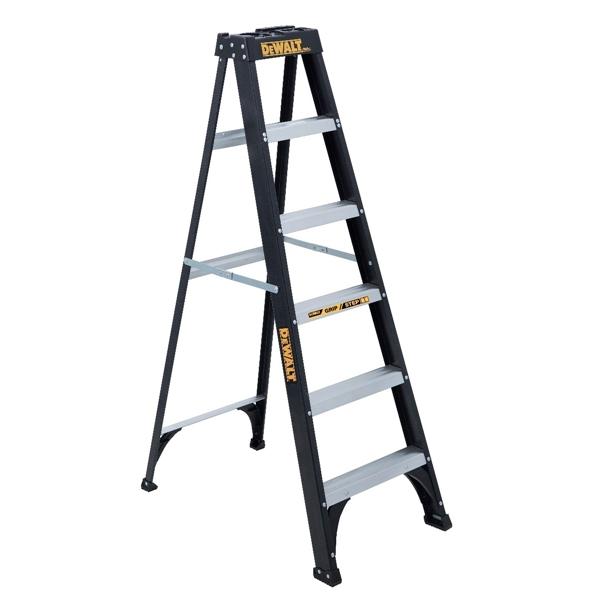Picture of DeWALT by Louisville DXL3110-06 Step Ladder, 5-Step, 250 lb, Type I Duty Rating, 3-3/4 in D Step, Fiberglass